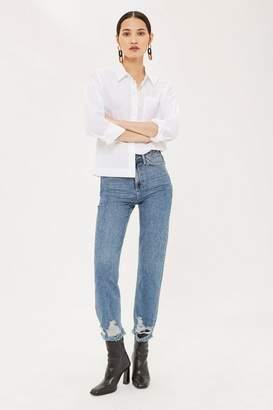 Topshop Mid Blue Ripped Hem Straight Leg Jeans