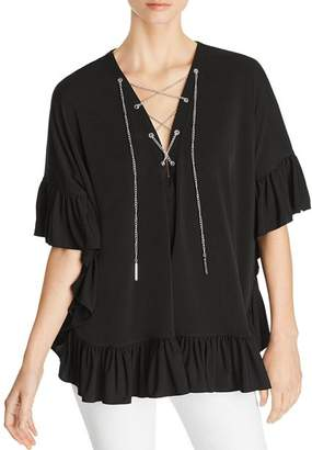 MICHAEL Michael Kors Ruffle-Trimmed Chain Lace-Up Top