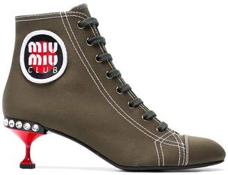 Miu Miu 55 canvas boots with logo patch