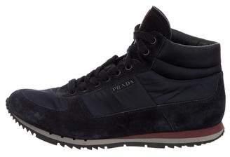 Prada Sport Suede & Nylon Mid-Top Sneakers