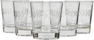 One Kings Lane Vintage 1960s Line-Etched Glass Tumblers - Set of 5 - 2-b-Modern