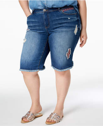 INC International Concepts I.n.c. Plus Size Ripped Denim Shorts, Created for Macy's