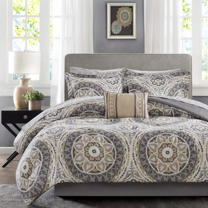 Madison Park Serenity Twin 7-piece Complete Bed and Sheet Set - Taupe