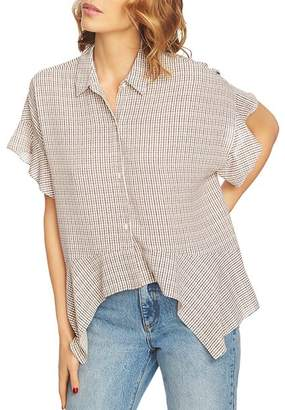 1 STATE 1.STATE Mini Houndstooth High/Low Blouse