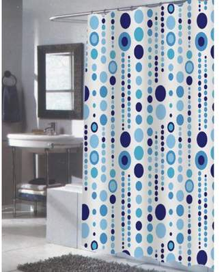 "Carnation Home Fashions Extra Long ""Mia"" Fabric Shower Curtain"