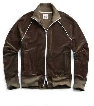 Todd Snyder Piped Velour Track Jacket in Thyme