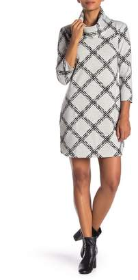 Vince Camuto Long Sleeve Print Knit Sweater Dress