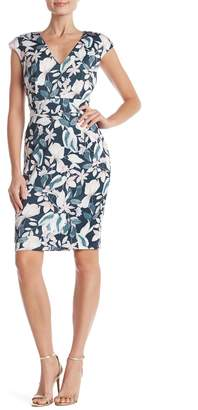 Alexia Admor Floral Printed V-Neck Sheath Dress