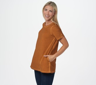 Logo By Lori Goldstein LOGO by Lori Goldstein Distressed Terry Top with Godet Seams