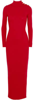 Balmain - Embellished Ribbed Merino Wool Maxi Dress - Red $1,310 thestylecure.com