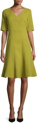 Lafayette 148 New York Mirasol Half-Sleeve Seamed A-Line Wool Dress $548 thestylecure.com