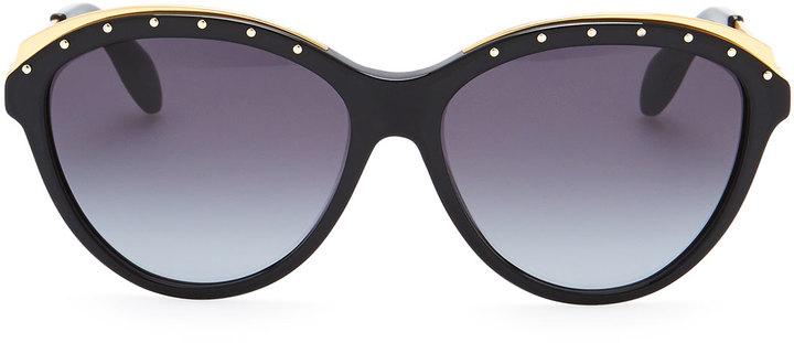 Alexander McQueen Studded Round Sunglasses, Black