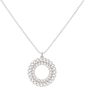 Diamonique Curb Design Pendant with Chain, Sterling Silver
