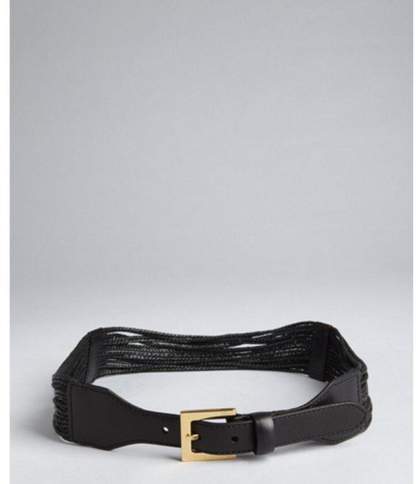 Vince Camuto black braided leather cord belt