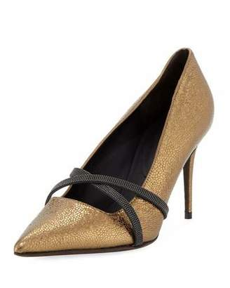 Brunello Cucinelli 85mm Metallic Leather Cross-Strap Pumps