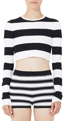 Marc Jacobs Plaited Stripe Long-Sleeve Cropped Top