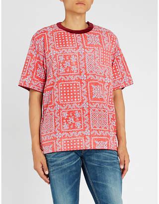 Sacai Reyn Spooner velvet-trim floral-print cotton T-shirt