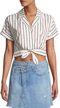 Derek Lam 10 Crosby Striped Short-Sleeve Tie-Waist Cropped Shirt