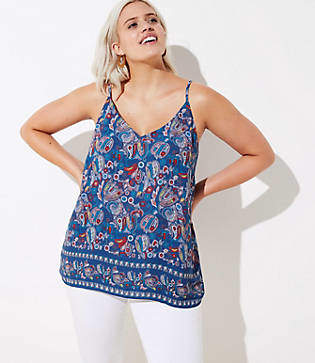 LOFT Plus Paisley Bar Back Strappy Cami