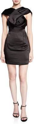 Fame & Partners The Lincoln High-Neck Cap-Sleeve Mini Satin Dress