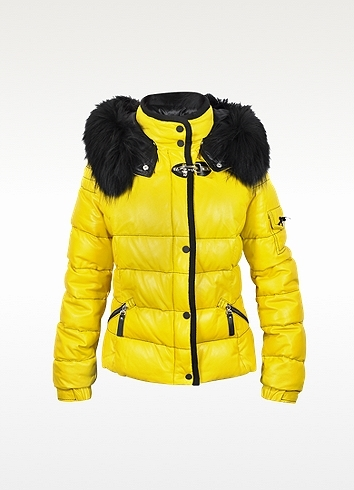 Forzieri Yellow Leather Puffer Jacket w/Detachable Fur Hood
