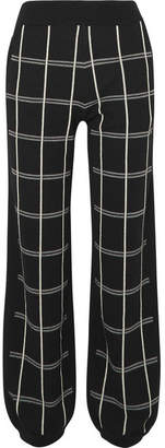 Chloé Checked Intarsia Wool-blend Track Pants - Black
