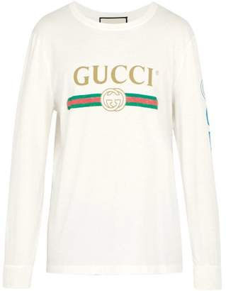 Gucci Fake Logo Print Dragon Embroidered T Shirt - Mens - Cream
