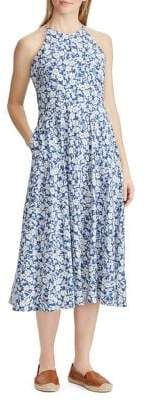 Chaps Floral Fit-and-Flare Cotton Dress