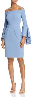 Aqua Off-the-Shoulder Crepe Bell-Sleeve Dress - 100% Exclusive