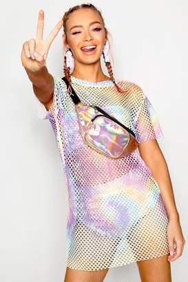 boohoo Pastel Tie Dye Mesh T-shirt Dress