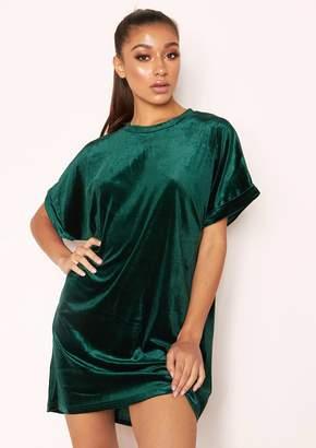 5139ead59 Missy Empire Missyempire Ranee Emerald Green Velvet T-Shirt Dress