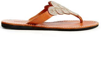 Laidback London Scalloped Beaded Thong Sandal