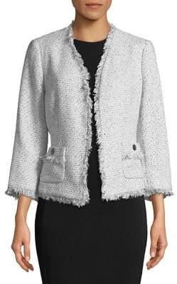 Nipon Boutique Tweed Fringe Trim Jacket