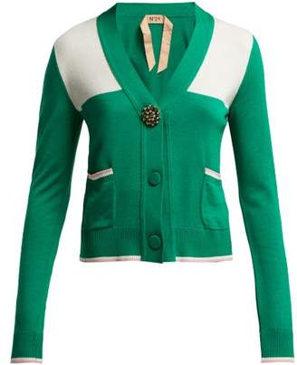 No.21 No. 21 - Brooch Embellished Wool Blend Cardigan - Womens - Green