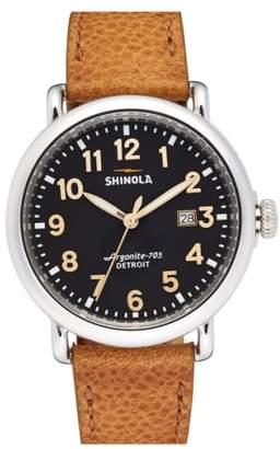 Shinola 'Runwell' Leather Strap Watch, 41mm