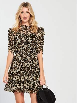 b2be6062ef Very Ruched Sleeve Frill Tea Dress - Leopard Print
