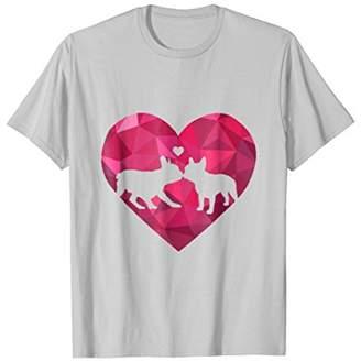 French Bulldog Poly Heart Frenchie Kiss T-Shirt