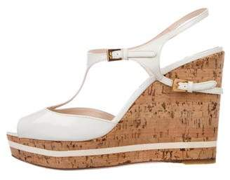 Prada Peep-Toe Patent Leather Wedges