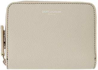 Saint Laurent Ivory Rive Gauche Compact Zip Around Wallet