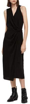 AllSaints Syrah Midi Wrap Dress