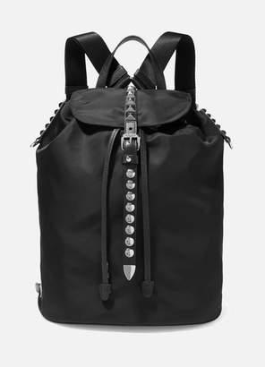 db11875428b1 Prada Vela Studded Leather-trimmed Shell Backpack - Black