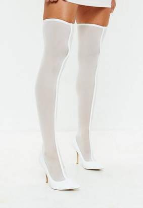 Missguided White Mesh Over The Knee Sock Boots