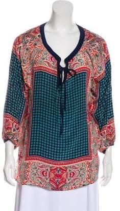 Tolani Silk Oversize Printed Blouse