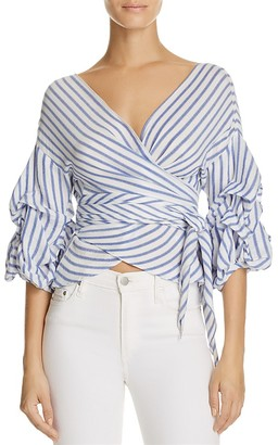 Olivaceous Tiered Wrap Stripe Top $74 thestylecure.com