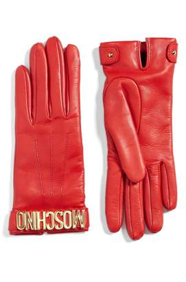 Moschino Logo Leather Gloves