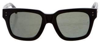 Linda Farrow Python-Trimmed Square Sunglasses