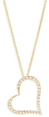 Roberto Coin Slanted Diamond Heart Pendant Necklace