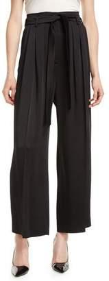 Valentino Hammered Satin Wide-Leg Fluid Pants w/ Self Belt