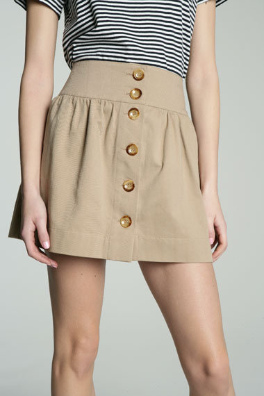 Solid Button Thru Skirt