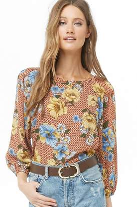 Forever 21 Chiffon Floral & Geo Print Top